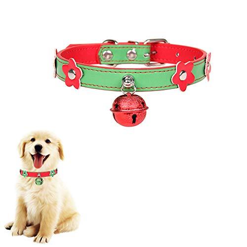 ALiYangYang Hundehalsband aus Leder, verstellbare Haustierhalsbänder aus Leder mit Weihnachtsglocke Designe für Hund Katze Urlaub Geschenk Hals Dekoration,Green,S -