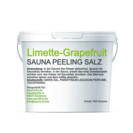 Premium Saunasalz (Salzöl) 500 Gramm Meersalz Peeling mit ÖL | Peeling Salz | Duschsalz | Sauna Salz Peeling | (Limette-Grapefruit)