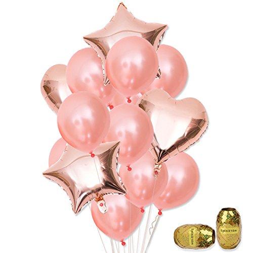 Ouinne 14 Piezas Globo de Cumpleaños Helio Globos con Cinta Dorada para La Decoración Boda Aniversario (Oro rosa)