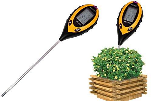 Hikenn 4-in-1 Digitales Bodenmessgerät Bodentester für Pflanzen Feuchtigkeit PH-Wert Licht