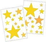 25 Sterne Wandtattoo fürs Kinderzimmer - Wandsticker Set - Pastell Farben, Baby Sternenhimmel zum Kleben Wandaufkleber Sticker Wanddeko - Wandfolie, Kleinkinder, Erstausstattung auf Rauhfaser Gelb