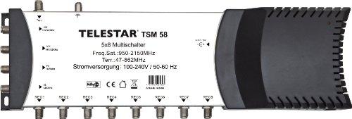 Telestar TSM 58 Multischalter zur Versorgung von bis zu 8 Teilnehmern (4 SAT+ 1 DVB-T Eingang/8 Ausgänge, integriertes Netzteil 100-230V)