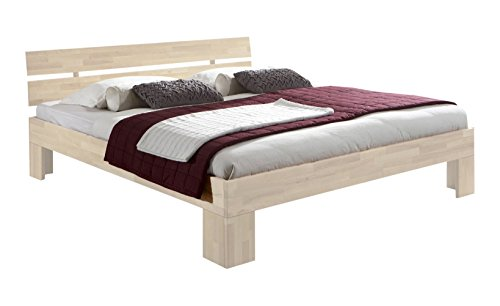 Unbekannt Massivholz-Bett Nano weiß 160 x 200 cm aus Kernbuche, Doppelbett, als Ehebett verwendbar, inkl. Rückenlehne, 1 Bett á 160 x 200 cm