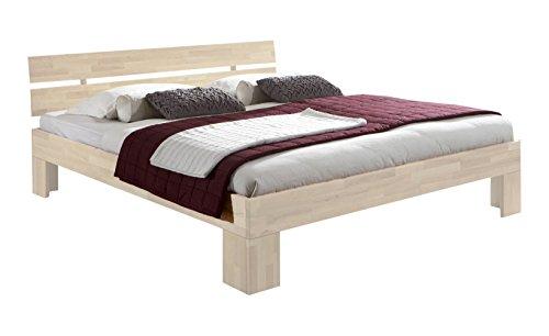 guenstiges doppelbett Unbekannt Massivholz-Bett Nano weiß 200 x 200 cm aus Kernbuche, Doppelbett, als Ehebett verwendbar, inkl. Rückenlehne, 1 Bett á 200 x 200 cm