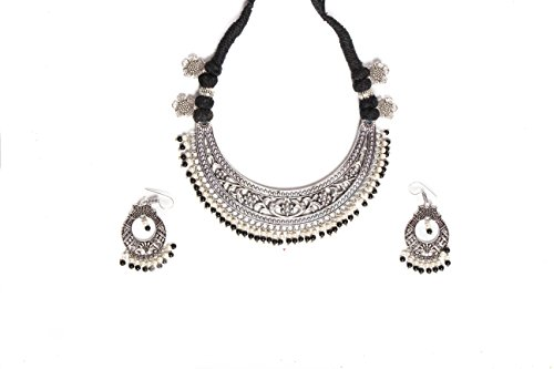 Vibgyor Vibes Antique Fashioned Oxidised Silver Plated Ethnic Indian Jewelry Set of Necklace and Fish Hooked Earrings