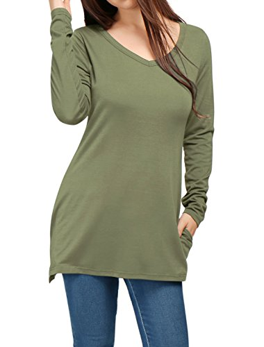 Allegra K Women's V Neck Long Sleeves Side Split Tunic Top w Pockets