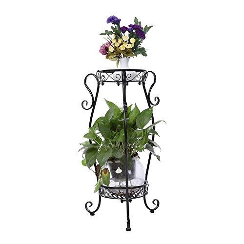 Mensola per fiori e piante,portavasi in ferro da interno e per giardino esterno,espositore per bonsai esterno scaletta portafiori fioriera decorativa,22 * 36 * 66cm (nero)