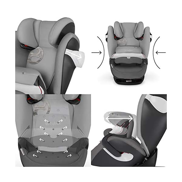 CYBEX Silver Pallas M-Fix 2-in-1 Child's Car Seat, For Cars with and without ISOFIX, Group 1/2/3 (9-36 kg), From approx. 9 Months to approx. 12 Years, Rumba Red Cybex Sturdy and high-quality child car seat for long-term use - For children aged approx. 9 months to approx. 12 years (9-36 kg), Suitable for cars with and without ISOFIX Maximum safety - Depth-adjustable impact shield, 3-way adjustable reclining headrest, Built-in side impact protection (L.S.P. System), Energy-absorbing shell 12-way height-adjustable comfort headrest, One-hand adjustable reclining position, Easy conversion to Solution M-Fix car seat for children from 3 years (group 2/3) by removing impact shield and base 3