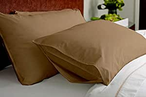 Indore Cotton Soft and Smooth Wrinkle-Free Thread-Count Pillow Case (17 x 27 Inch, Taupe) - Set of 2
