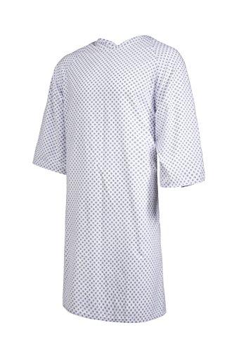 Clinotest Patientenhemd/Nachthemd/Krankenhaushemd/Patientenhemd/Pflegehemd, Einheitsgröße, in der Farbe Sternchen Blau