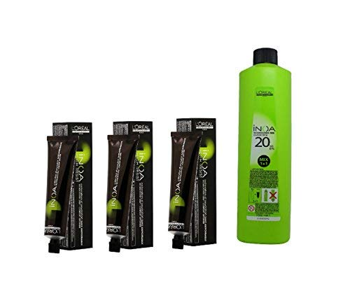 L'Oreal INOA No Ammonia Free Permanent Colour with Oil Developer (3 Dark Brown, 60ml and 1000ml) - Pack of 3 Tubes