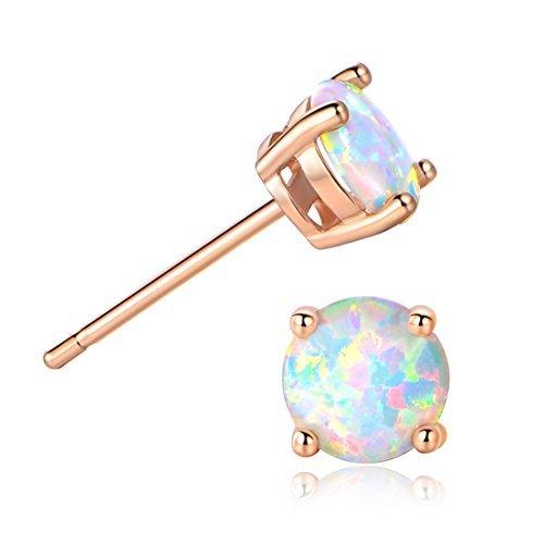 Opal Ohrringe Damen Rosegoldete Gesundheitsstecker 6mm Runde Ohrstecker Kinder Mädchen Frauen Schmuck Geschenk (Ohrringe Ohrstecker Opal)