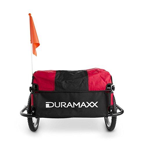 DURAMAXX Mountee • Fahrradanhänger • Lastenanhänger • Handwagen • mit Hochdeichsel • Transportbox mit 130 Liter Volumen • Tragkraft: max. 60 kg • Kugel-Kupplung für Fahrräder mit 26'' - 28'' • pulverbeschichteter Stahlrohrrahmen • rot - 5