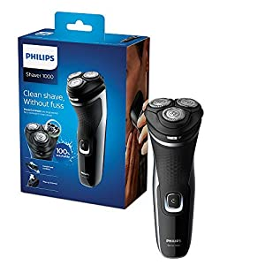 Philips Series 1000 Dry Electric Shaver with Powercut Blades and Pop-Up Trimmer, Shinny/Black, 289 g