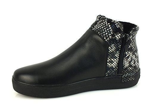 CAF NOIR DB912 Black Rock Schuhe Mitte sheakers Seite Reißverschluss Frau Python Nero