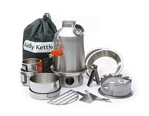 Ultimativ 'Scout' Kelly Kettle Zelten Kit Edelstahl GUTER PREIS ANGEBOT Beinhaltet 1,2 ltr Modell Stahl 'Scout' Wasserkessel+Kochset Set+Landstreicher Camping Herdplatte+Camping Tasse set 2 stück +