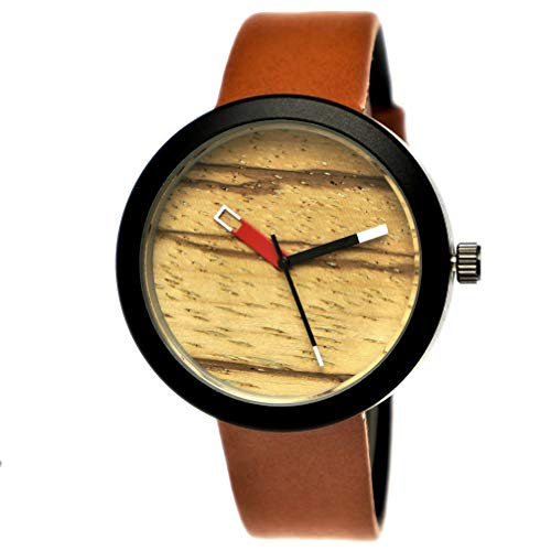 Elegante Pure Time® Designer Damen-Uhr Öko Natur Holz-Uhr Armband Uhr Analog Klassisch Quarz-Uhr Armbanduhr Schwarz Braun Leder-Armband Holz Ziffernblatt