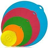 Silikon Schüssel Deckel Set von 5, DLAND wiederverwendbare Saugdichtung Abdeckungen für Schüsseln, Töpfe, Tassen und Mikrowelle Essen Abdeckungen Combo, FDA zugelassen.