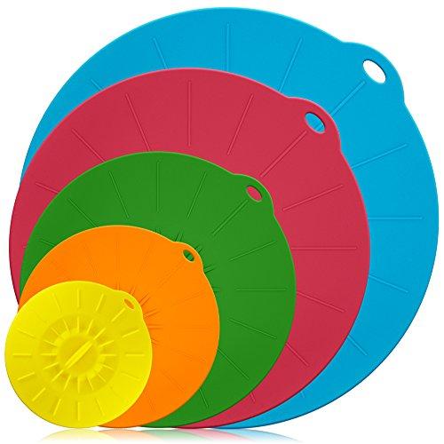 Silikon Schüssel Deckel Set von 5, DLAND wiederverwendbare Saugdichtung Abdeckungen für Schüsseln, Töpfe, Tassen und Mikrowelle Essen Abdeckungen Combo, FDA zugelassen. - Mikrowelle 10 Zoll Glas