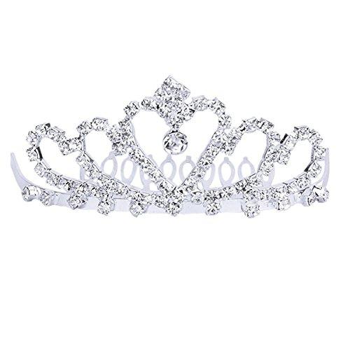Tinksky Mariage élégant mariée bal étincelant cristal strass couronnent diadème serre-tête avec peigne (argent)