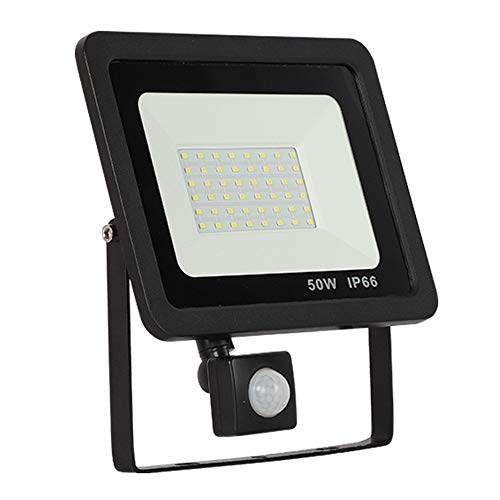 50W LED Strahler mit Bewegungsmelder 3 modi - Superhell LED Außenstrahler Fluter Flutlicht 6500K kaltweiß,IP66 Wasserfest Aluminium - für Garten,Garage,Hof oder Hote (50W kaltweiß,schwarz) -