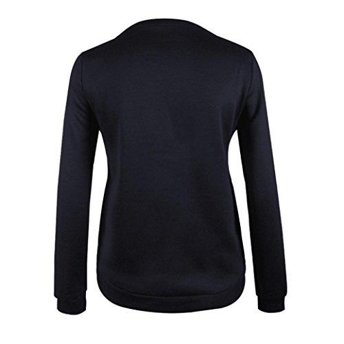 Amlaiworld Damen Floral Streifen drucken Rundhals-Pullover Bluse Schwarz