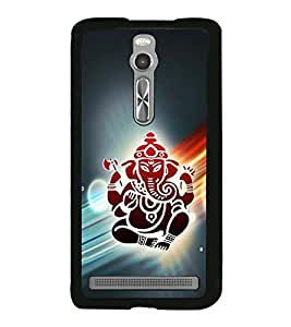 Fuson Premium 2D Back Case Cover Lord Ganesh With Red Background Degined For Asus Zenfone 2::Asus Znfone 2 ZE550ML