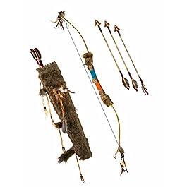 Arco indiano pellerossa con finiture in pelo finto e piume, faretra e frecce mcirca 90cm per games of trones bruti estranei