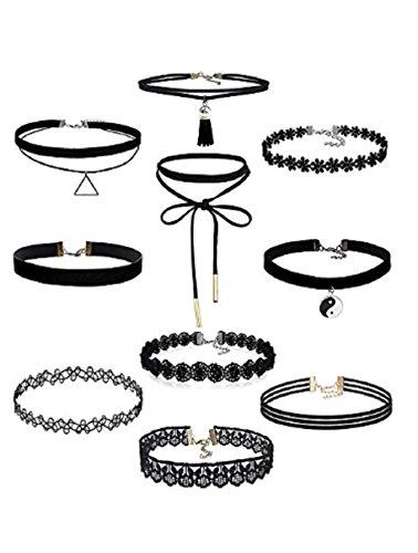 CargoMix 10 Stück Choker Halskette Set Stretch samt klassische gotische Tattoo Spitze Choker für Frauen Mädchen Damen
