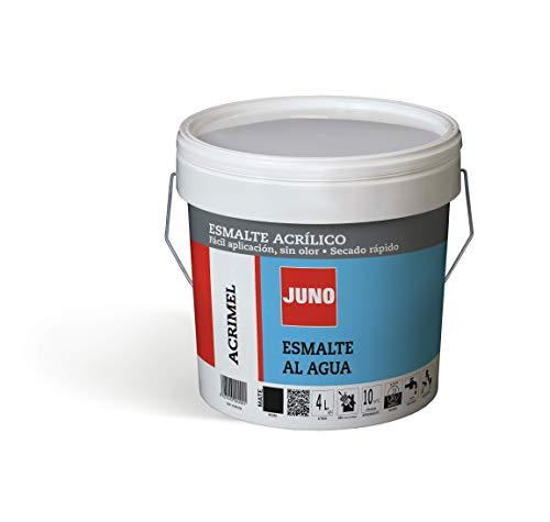 JUNO Acrylfarbe, matt, geruchlos und schnelltrocknend, für Metall, Holz oder Mauerwerk, 4 l, Schwarz