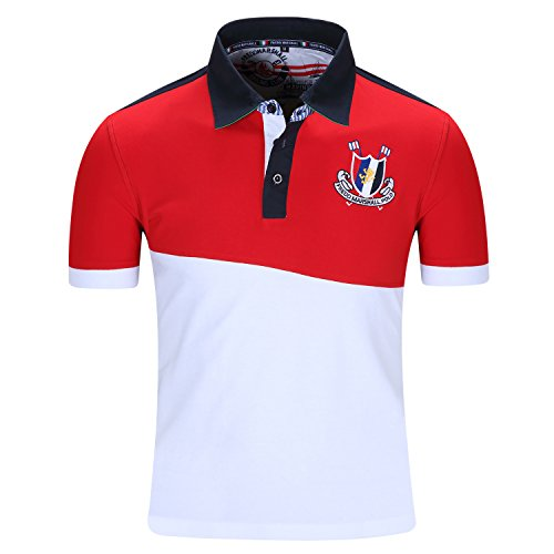 Men's Short Sleeve Cotton Premium Embroidered Classic Polo Shirts Golf Tops