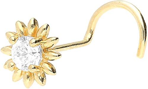 PIERCINGLINE® Nasenstecker 18 Karat Gelbgold Spirale BLUME