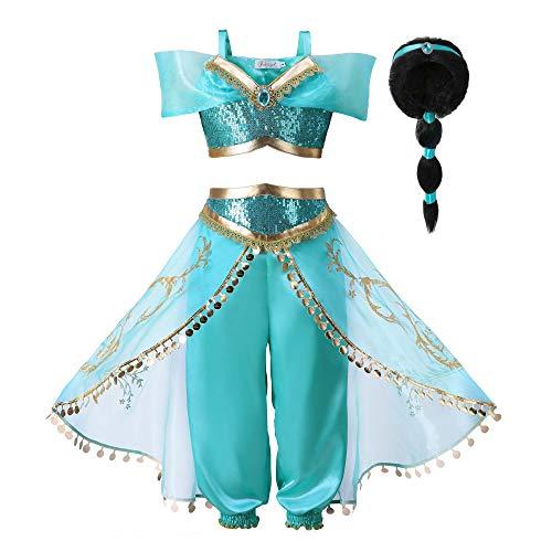 Pettigirl Mädchen Blau Paillette Klassisch Prinzessin Ankleiden Kostüm Outfit (160cm (11-12 Jahre), Kostüm mit Perücke)