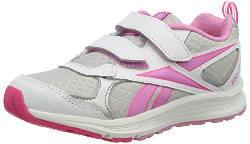 Reebok Almotio Rs 2v, Chaussures de Running Entrainement Fille Blanc / Argenté / Rose (White/Silver/Icono Pink/Solar Pink)