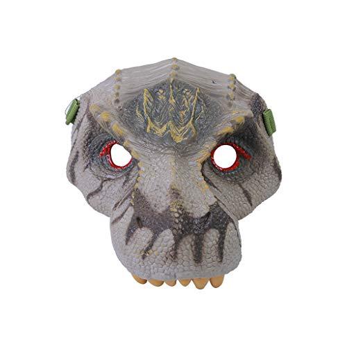 een Kostüm Party Tierkopf Maske Dinosaurier Party Triceratops der Dinosaurier Masken Cosplay Spielzeug Dinosaurier Latex Kostüm Stütze Unheimlich Maske ()