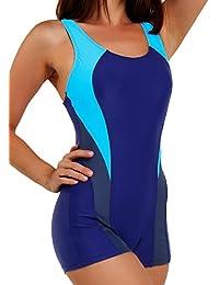 10f6a69bd95e FITTOO Damen Vintage Figuroptimizer X-Rücken Einteiliger Sport Badeanzug  mit Bein
