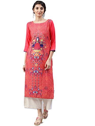 Vaamsi Women's A-Line Kurta (VPK1500_4XL_Orange_xxxx-large)