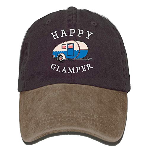 VTXINS Happy Camp Happy Glamper Vintage Washed Dyed Cotton Twill Low Profile Adjustable Baseball Cap Black Twill-fitted Cap