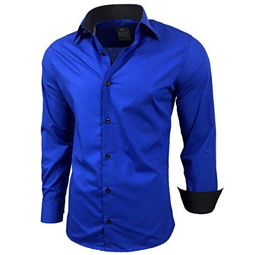 Kontrast Business Anzug Freizeit Polo Slim Fit Figurbetont Hemd Langarmhemd R-44, Farbe:Sax;Größe:5XL