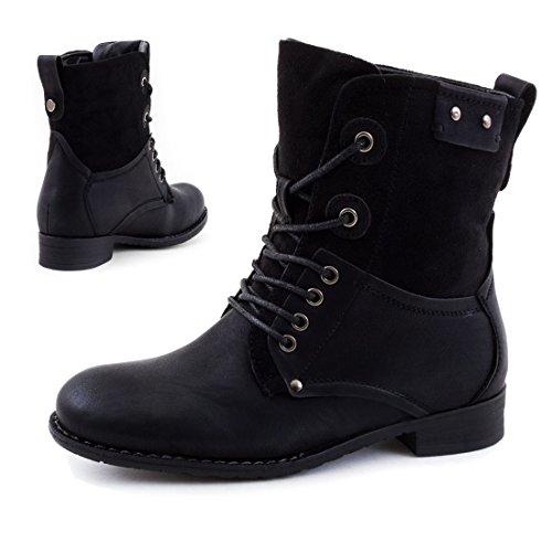 Damen Schnür Stiefeletten Worker Boots mit Strass und Reißverschluss in hochwertiger Lederoptik Schwarz London gefüttert
