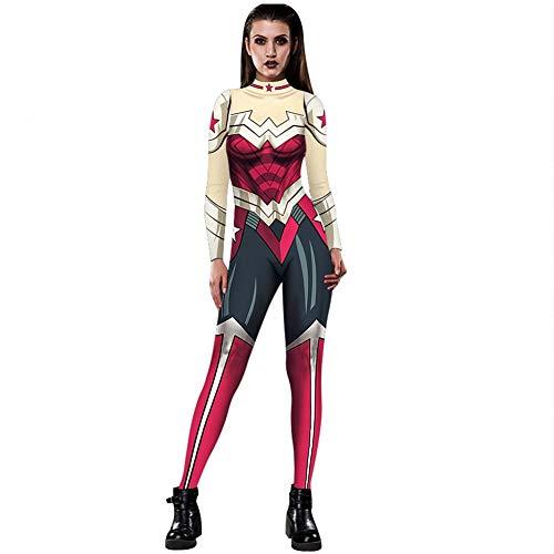 Halloween-Kostüme für Frauen, Women's Avengers Wonder Woman Digitaldruck Eng anliegender Kostüm-Body mit Rückendruck - Sexy Kostüm-Overall - Übergröße Wonder Woman Kostüm