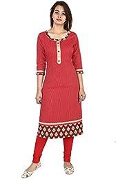 Bright Cotton Womens Straight Long Kurta (Red)