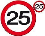 Untersetzer Verkehrsschild Zahl 25Geburtstag Deko Party