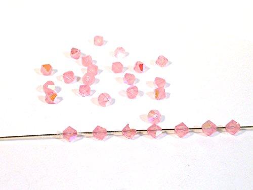 50 Swarovski® Perlen, Bicone, opal rose AB, 4 mm, SW70 - Ab Swarovski Bicone