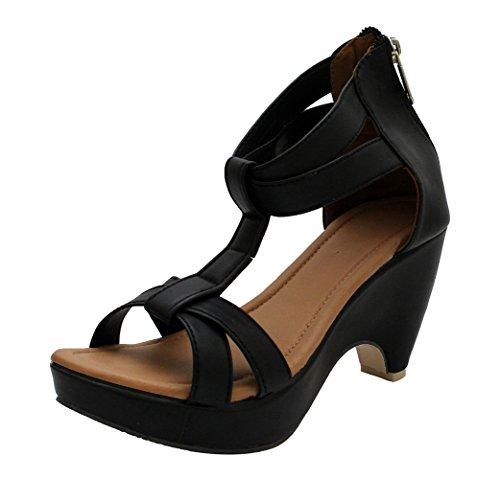 ROCKSY Women's Black Fashion Sandals - 6 UK