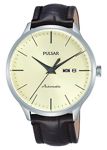 Pulsar Herren Analog Automatik Uhr mit Leder Armband PL4035X1