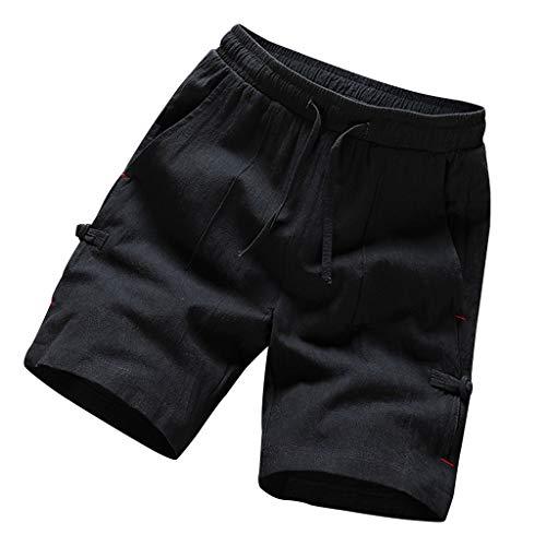 GreatestPAK Herren Komfort Shorts Sommer Vintage Baumwolle Leinen Einfarbig Kurze Hosen,Schwarz,EU:XL(Tag:3XL) Mac Cord