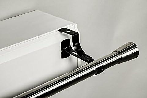 2 supports sans perçage GEKO pour tringle à rideaux diamètre 28 mm - Spécial caisson de volet roulant à rainure - Colori : Noir