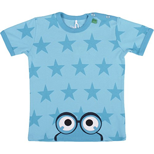 Fred'S World By Green Cotton Star Peep T Boy Baby T-Shirt, Turquoise-Türkis (Aqua 016453000), 24 Mois Bébé garçon