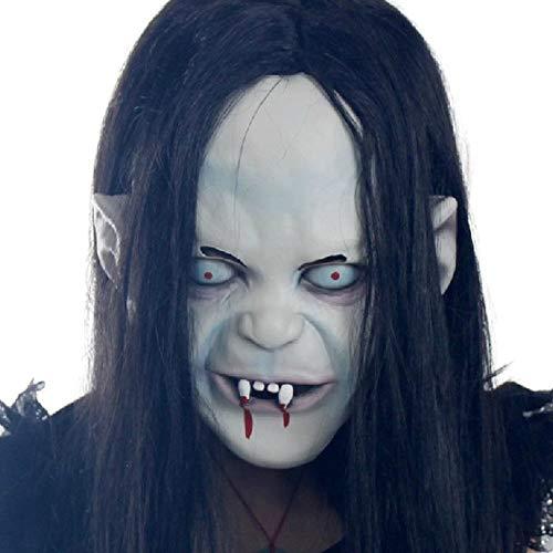 NOMEN Halloween-Maske, Gruselige Beängstigend Blutungen Gestört Halloween Weibliche Geister Teufel Böse Party-Maske Wig Haare Männer ()